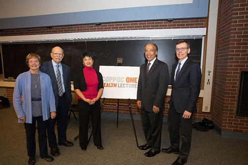 Dr. Regina Tan (center) joins in a photo-op with Dr. Gordon Coppoc and his wife Harriet and PVM Dean Willie Reed and Associate Dean for Research Harm HogenEsch before the Coppoc One Health Lecture November 2 in Lynn 1136.
