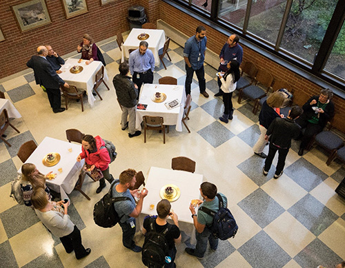 Lecture attendees enjoy the Coppoc One Health Lecture reception in the Continuum Cafe.