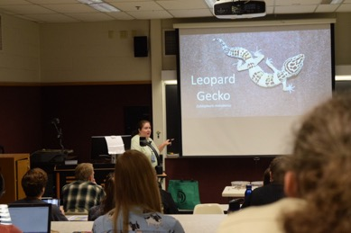 Angela Thomas of the Hoosier Herpetological Society discusses basic husbandry of gecko species during the reptile lectures on Sunday, November 5.