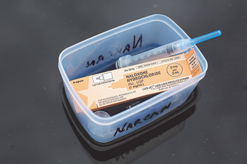 The Metro K9 Unit now carries naloxone, commonly known as Narcan, to keep K9s safe when they are sent into houses and cars to find narcotics.  Narcan is an opiate antidote which can reverse symptoms of an overdose, giving emergency responders more time for life-saving treatment for people – and dogs – who are exposed to fatal levels of opioids.