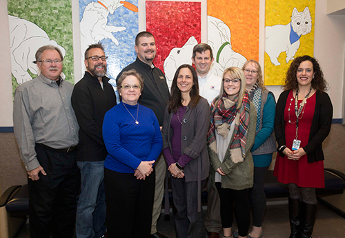 PVM Veterinary Technology Advisory Board Members: Back row (L to R): Dr. John Schnarr, Dr. Steve Sunbury, Dr. John Feutz, Dr. Brandon Stapleton, and Beth Skiles, RVT, with Dr. Bianca Zenor, Veterinary Technology Program director; Front Row (L to R): Dr. Susan Prieto-Welch, Amanda Durnell, RVT, and Mattie Floyd. (Not pictured, Dr. Larry McAfee).