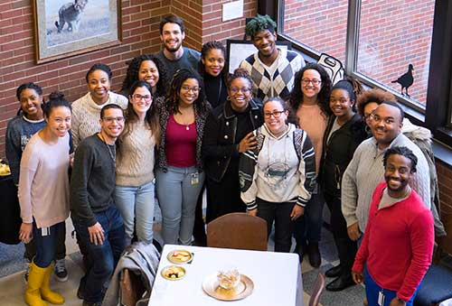 Dr. Kauline Cipriani is joined at her farewell reception by PVM students who completed the Access to Animal-Related Careers (A2RC) program.