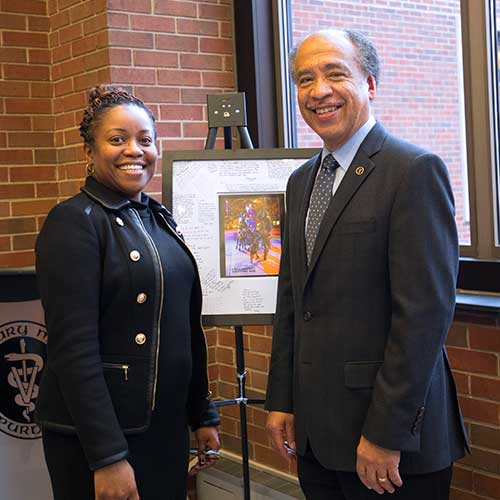 Dean Willie Reed with Dr. Kauline Cipriani at her farewell reception Wednesday, January 24.