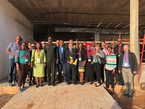 Odalys Torres-Luquis visits the site of the new radiotherapy center along with a selective group of health professionals and Col Dr. Bitega, the director general of Rwanda Military Hospital.