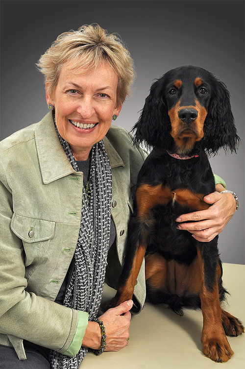 Featured speaker for the Human Animal Bond Lecture at the VMX Conference, Dr. Rebecca Johnson, with her dog, Callie.